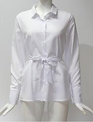 hesapli -Kadın's Gömlek Solid Beyaz L