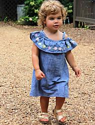 hesapli -Bebek Genç Kız Actif / Temel Solid / Desen Desen Kolsuz Diz-boyu Pamuklu Elbise Mavi
