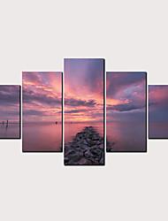Недорогие -С картинкой Роликовые холсты - Пляж Пейзаж Классика Modern 5 панелей