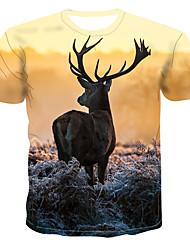billiga -Tryck, Färgblock / 3D / Djur T-shirt Herr Gul XXXXL
