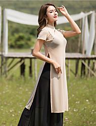 お買い得  -スポーツダンスウェア セット / ヨガ 女性用 性能 スパンデックス フリル / スリット 半袖 上着 / パンツ