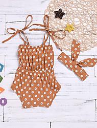 hesapli -Bebek Genç Kız Temel Desen Kolsuz Pamuklu / Polyester bodysuit Kahverengi