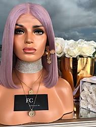 halpa -Synteettiset peruukit Kinky Straight Tyyli Keskiosa Suojuksettomat Peruukki Violetti Purppura Synteettiset hiukset 14 inch Naisten Party Violetti Peruukki Keskipitkä Luonnollinen peruukki