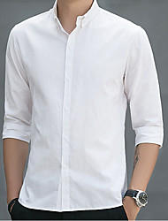baratos -Homens Camisa Social Sólido Branco XL