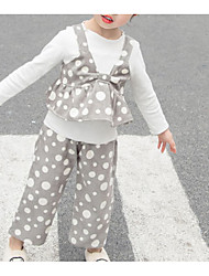 hesapli -Bebek Genç Kız Temel Yuvarlak Noktalı Uzun Kollu Normal Polyester Kıyafet Seti Doğal Pembe