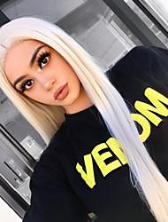 Недорогие -Синтетические кружевные передние парики Прямой Стиль Средняя часть Лента спереди Парик Блондинка Отбеливатель Blonde Искусственные волосы 18-26 дюймовый Жен. Природные волосы Блондинка Парик Длинные