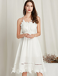 abordables -Femme Mi-long Trapèze Robe Blanc M L XL Sans Manches