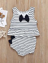 levne -Toddler Dívčí Proužky Mašle Bez rukávů Bavlna / Spandex Plavky Bílá