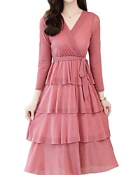 رخيصةأون -فستان نسائي A line أساسي طول الركبة لون سادة