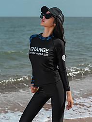 رخيصةأون -نسائي بدلات الغطس العميق حماية من الأشعة فوق البنفسجية خفيف جدا (UL) سريع جاف تيريليني كم طويل ملابس السباحة ملابس الشاطئ سترات للغوص لوحات سباحة غوص / قابل للبسط