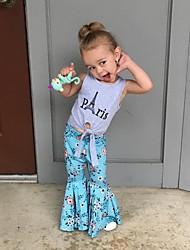 tanie -Dzieci / Brzdąc Dla dziewczynek Aktywny / Podstawowy Kwiaty / Nadruk Wiązanie / Nadruk Bez rękawów Regularny Bawełna / Spandeks Komplet odzieży Szary