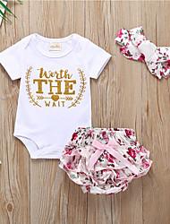 billige -Baby Jente Aktiv / Grunnleggende Blomstret Sløyfe / Trykt mønster Kortermet Normal Bomull Tøysett Hvit