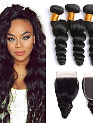 Недорогие -3 комплекта с закрытием Индийские волосы Свободные волны Необработанные натуральные волосы Человека ткет Волосы Пучок волос One Pack Solution 8-20 дюймовый Естественный цвет Ткет человеческих волос