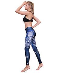 お買い得  -女性用 ヨガパンツ オーシャンブルー スポーツ 3D印刷 モーダル エラステイン サイクリングタイツ ランニング フィットネス ジムトレーニング アクティブウェア 高通気性 ソフト おなかコントロール パワーフレックス 高弾性 タイト