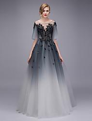 tanie -Balowa Linia złudzenia Sięgająca podłoża Tiul Sukienka z Haft przez TS Couture®