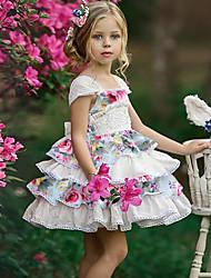 billige -Baby Jente Aktiv / Gatemote Blomstret / Lapper Sløyfe / Drapering / Lapper Ermeløs Rayon Kjole Hvit