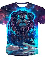 billiga -Tryck, Färgblock / 3D / Djur T-shirt Herr Ljusblå XXXXL