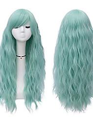 halpa -Synteettiset peruukit Kihara Tyyli Keskiosa Suojuksettomat Peruukki Vihreä Vihreä Synteettiset hiukset 22 inch Naisten Party Vihreä Peruukki Pitkä Luonnollinen peruukki