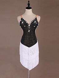 economico -Balli latino-americani Vestiti Per donna Prestazioni Elastene Dettagli con perline / Nappa / Cristalli / Strass Senza maniche Abito