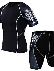 Недорогие -Муж. Спортивный костюм 3D-печати Бег Фитнес Тренировка в тренажерном зале Наборы одежды С короткими рукавами Спортивная одежда Дышащий Потеря веса Впитывает пот и влагу Для тренировки Power Flex