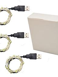 Недорогие -3шт 3м 30 светодиодные фея гирлянда USB Power серебряный провод многоцветный / белый / теплый белый вечеринка / праздник / свадьба / декор дома