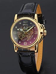 Недорогие -Жен. Механические часы Элегантный стиль минималист Черный Белый Натуральная кожа Кварцевый Белый Черный С гравировкой Аналоговый