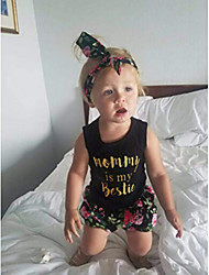 abordables -Bebé Chica Activo / Básico Estampado Estampado Sin Mangas Regular Regular Algodón Conjunto de Ropa Arco Iris