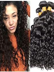 billige -4 pakker Brasiliansk hår Vand Bølge 100% Remy Hair Weave Bundles Menneskehår, Bølget Bundle Hair Hårforlængelse af menneskehår 8-28 inch Naturlig Farve Menneskehår Vævninger Lugtfri Blød Ny ankomst