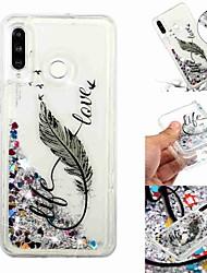 baratos -Capinha Para Samsung Galaxy Galaxy M20(2019) / Galaxy M30(2019) Liquido Flutuante / Transparente / Estampada Capa traseira Penas Macia TPU para Galaxy M10 (2019) / Galaxy M20(2019) / Galaxy M30(2019)
