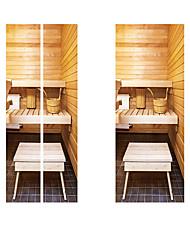 Недорогие -Creative diy 3d-эффект дверные наклейки ванная комната toliet шаблон для украшения стены комнаты домашнего декора аксессуары стикер стены
