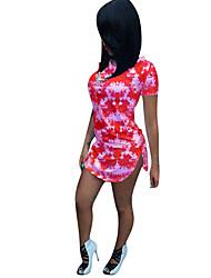 preiswerte -Damen Grundlegend Street Schick Hülle Kleid - Gespleisst Druck, Regenbogen Übers Knie