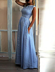 preiswerte -Damen Street Schick Anspruchsvoll Etuikleid Swing Kleid - Patchwork, Solide Maxi