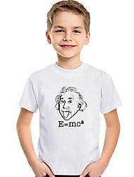 abordables -Enfants / Bébé Garçon Actif / Basique Géométrique / Imprimé Imprimé Manches Courtes Polyester / Spandex Tee-shirts Blanc