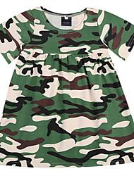 abordables -bébé Fille Actif / Basique Bloc de Couleur Imprimé Manches Courtes Coton Robe Vert