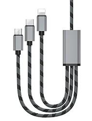 Недорогие -Micro USB / Подсветка / Type-C Адаптер / Кабель 1.3m (4.3Ft) Все в одном / От 1 до 3 / Быстрая зарядка Алюминий Адаптер USB-кабеля Назначение Samsung / Huawei / LG