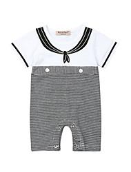 abordables -bébé Garçon Actif / Basique Rayé Mosaïque Manches courtes Coton Une-Pièce Blanc / Bébé