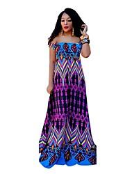 halpa -naisten maxi-swing-mekko pois olkapäästä violetti s m l xl