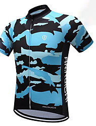 baratos -Para Meninos Manga Curta Camisa para Ciclismo - Azul Marinho Moto Respirável Pavio Humido Secagem Rápida Esportes Gráfico Ciclismo de Montanha Ciclismo de Estrada Roupa / Com Stretch / Crianças