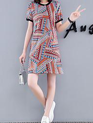 お買い得  -女性用 ストリートファッション エレガント Aライン ドレス 幾何学模様 膝上
