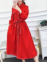 halpa -naisten yläpuolella polvipituinen mekko paita kaulus puuvilla punainen musta m l