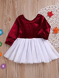 levne -Dítě Dívčí Základní Jednobarevné / Patchwork Dlouhý rukáv Bavlna / Polyester Šaty Světlá růžová