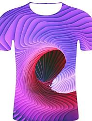 お買い得  -男性用 プリント Tシャツ ロック / 誇張された ストライプ / 3D / グラフィック パープル XXL
