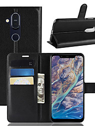 Недорогие -Кейс для Назначение Nokia Nokia 9 PureView / Nokia 7 / Nokia 7 Plus Кошелек / Бумажник для карт / Флип Чехол Однотонный Твердый Кожа PU
