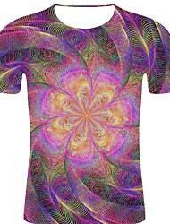 voordelige -Heren Rock / overdreven Print T-shirt Gestreept / 3D / Grafisch Paars XXL