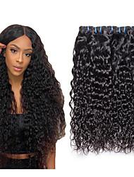 billige -3 Bundler Europæisk hår Vand Bølge Ubehandlet Menneskehår 100% Remy Hair Weave Bundles Hovedstykke Bundle Hair Hårforlængelse af menneskehår 8-28 inch Naturlig Menneskehår Vævninger Lugtfri