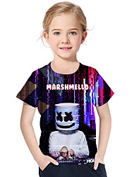 cheap -Kids / Toddler Girls' Active / Basic Geometric / Print Print Short Sleeve Polyester / Spandex Tee Black