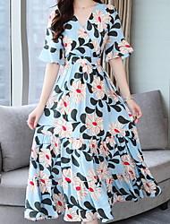 baratos -vestido de chiffon midi feminino profundo v chiffon azul s m l xl