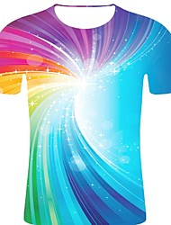 お買い得  -男性用 プリント Tシャツ ロック / 誇張された ストライプ / 3D / グラフィック レインボー XXL