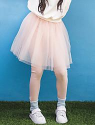 billige -Børn Pige Aktiv Ensfarvet Lace Trim Bomuld / Polyester / Spandex Leggings Lyserød