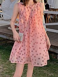 お買い得  -女性の上膝緩いシフォンドレスシフォンブラッシュピンクワンサイズ